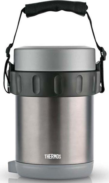 Термос Thermos JBG-1800, с контейнерами, с ложкой, 656728, серый, черный, 1.8 л