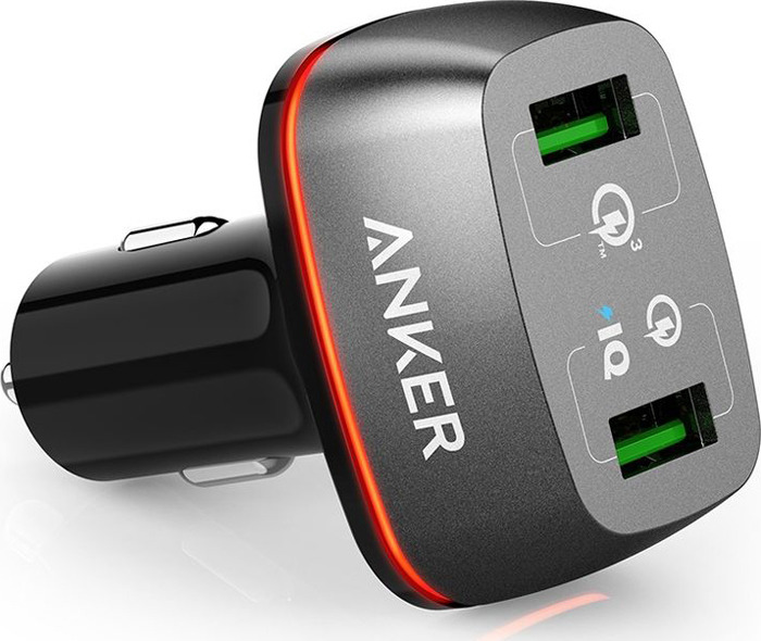 лучшая цена Автомобильное зарядное устройство Anker PowerDrive+ 2, A2224H11, Black