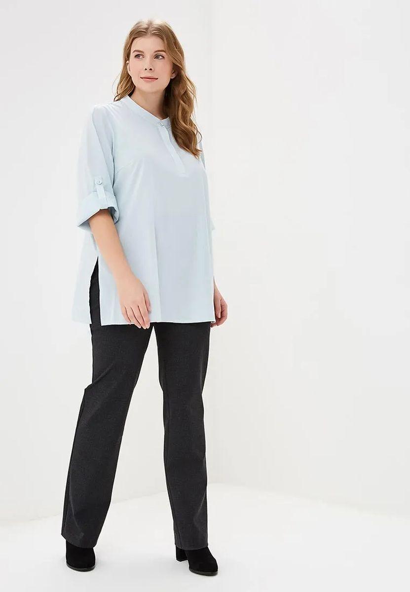 Блузка женская Зар-стиль Эффи-нью, цвет: голубой. 010418. Размер 48010418Классическая блуза, нежно голубого цвета, интересным рукавом 3/4, пуговицами в верхней части блузы.