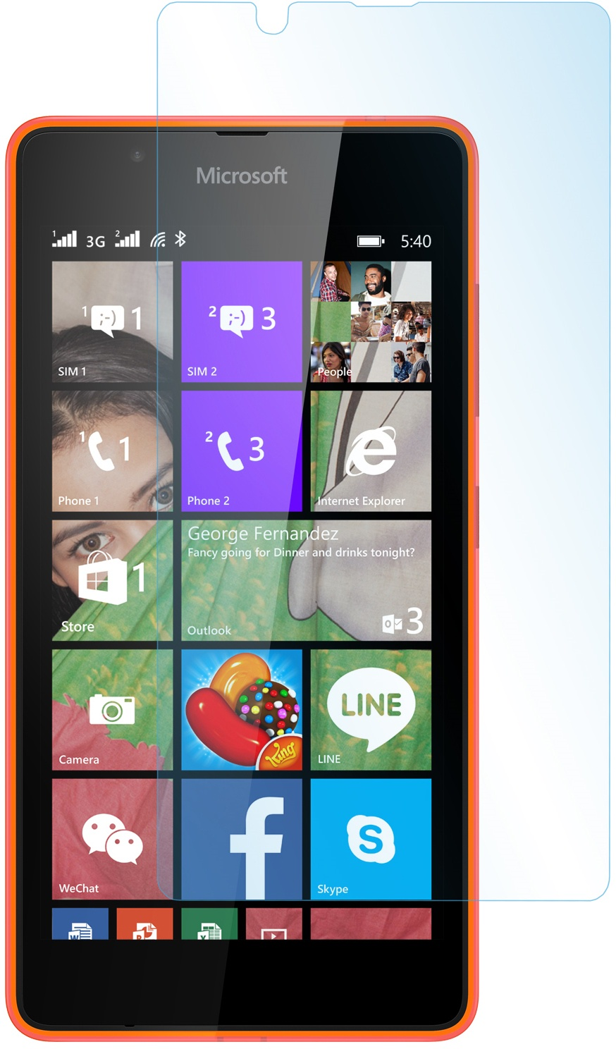 Защитное стекло skinBOX для Microsoft Lumia 540, 2000000080291, глянцевое флип кейс tutti frutti flip для microsoft lumia 540 серебристый