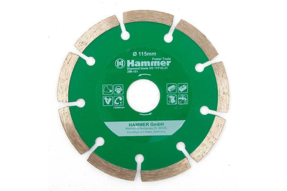 Диск алм. Hammer Flex 206-101 DB SG, 30685, 115х22мм набор дисков hammer flex 206 161 для пилы универсальной двухдисковой hammer flex crp1500