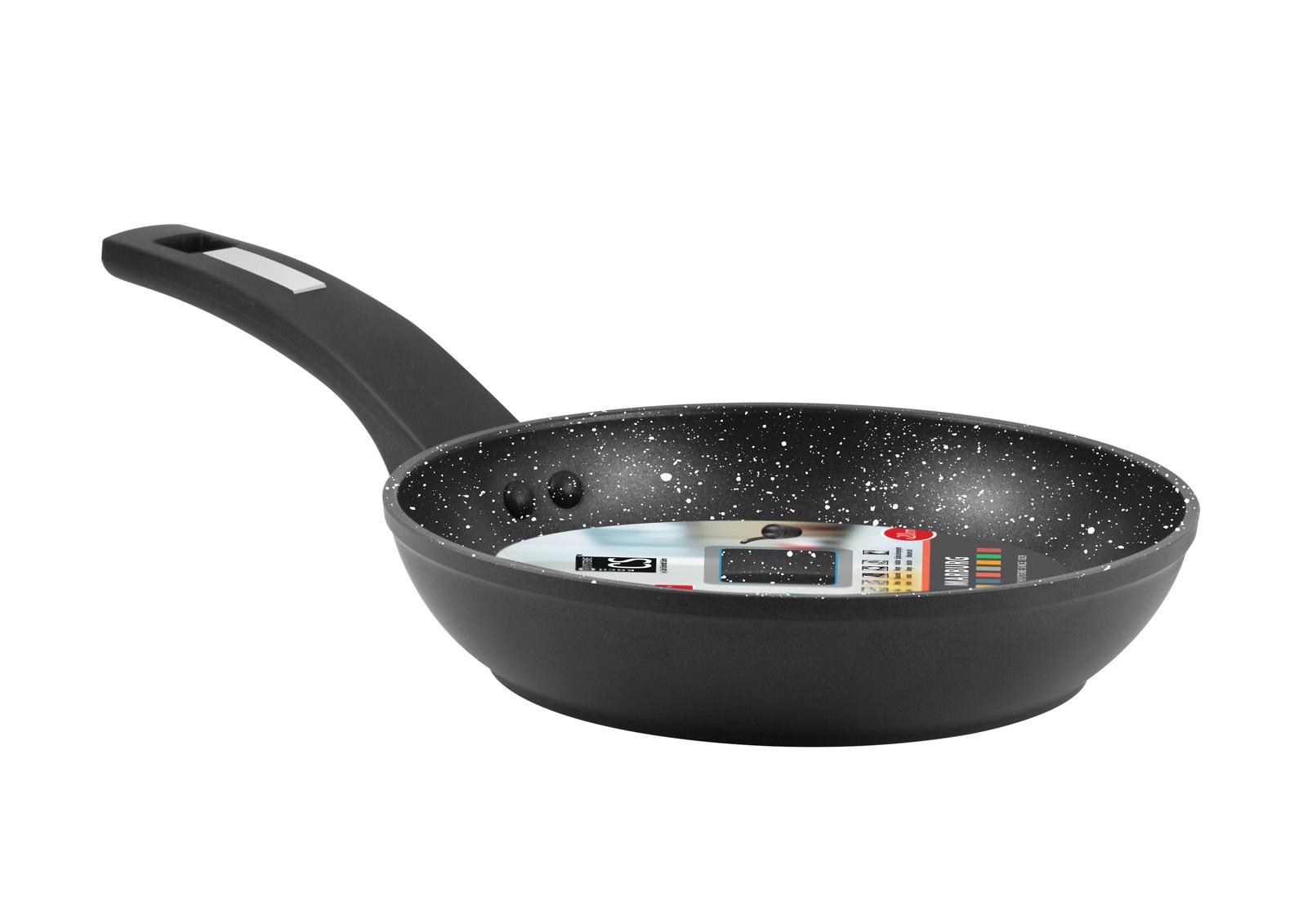 Сковорода CS-KOCHSYSTEME MARBURG D20, с мраморным покрытием, цвет: черный. Диаметр 20 см