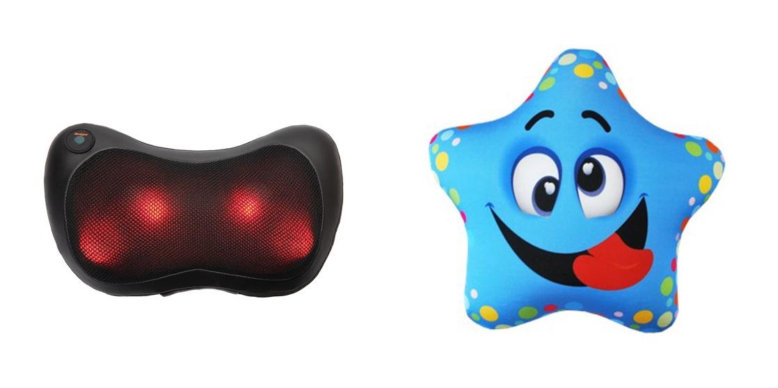 """Игрушка антистресс PROFFI подушка детская """"Звезда"""" и подушка-массажёр Relax с подогревом синий, черный, красный"""