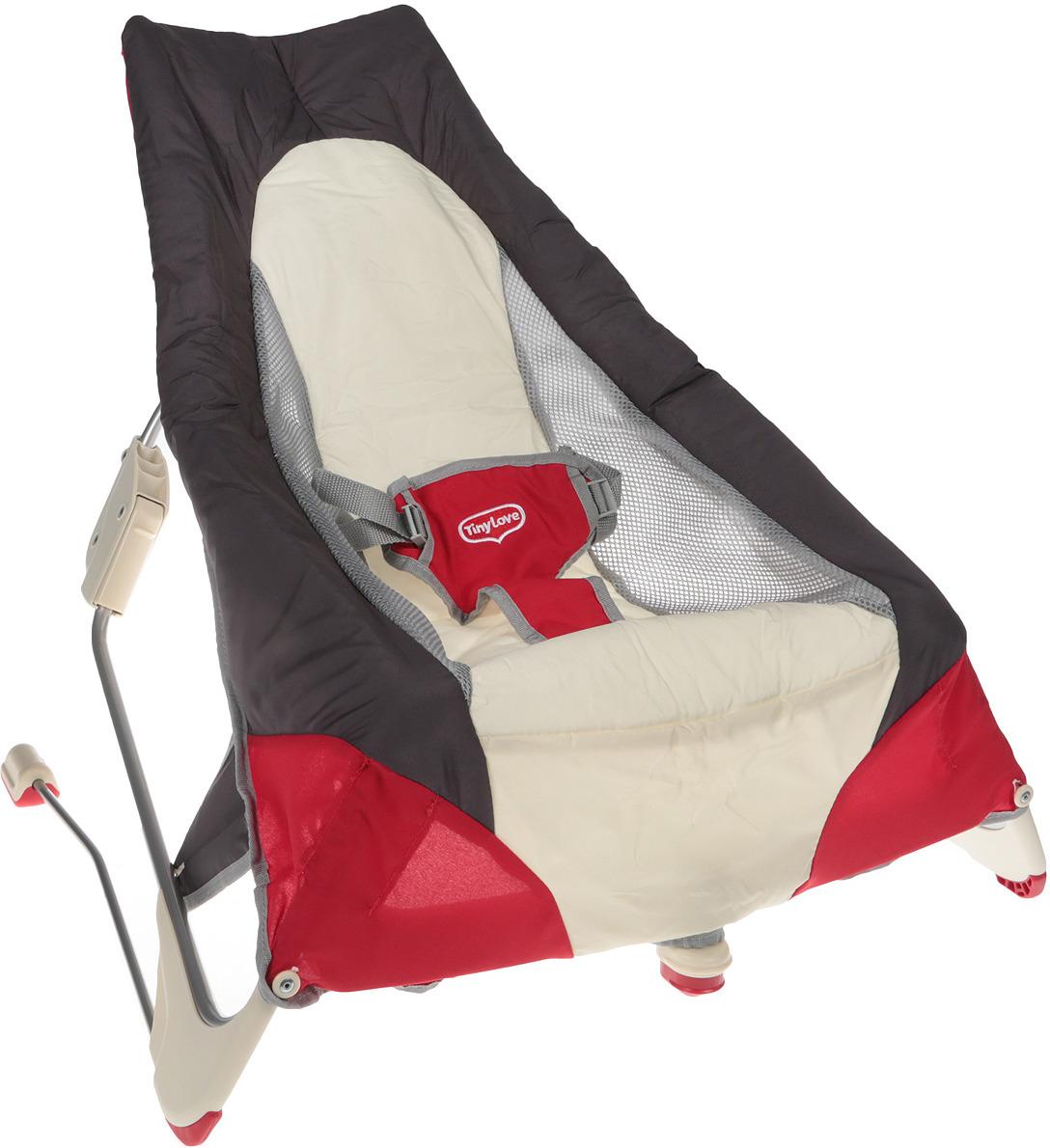 Переносной баунсер Tiny Love, цвет: серый, белый, красный кресла качалки шезлонги tiny love люлька баунсер люкс
