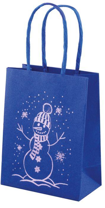 Фото - Пакет подарочный Феникс+ Снеговик, 45557/12, синий, 11 х 6 х 14 см пакет подарочный феникс полосы 40125 12 бежевый 40 х 14 х 30 см