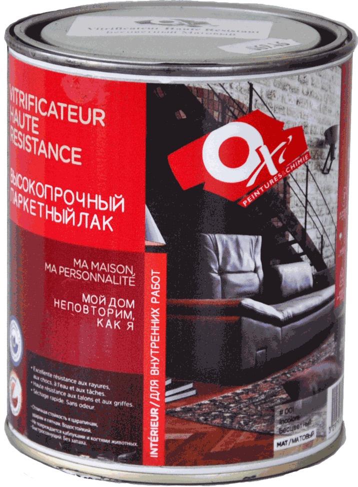 Лак OXI Высокопрочный паркетный (НА ВОДЕ) 2,5л б/цв. глянц., OX1401RU лак паркетный рогнеда eurotex эко полуматовый 5л