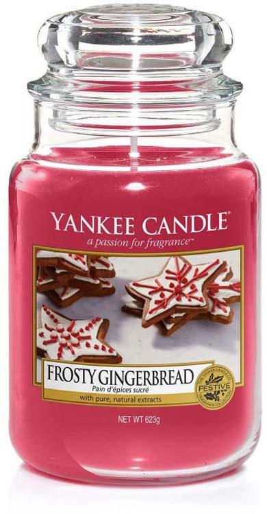 Свеча ароматизированная Yankee Candle Имбирный пряник с глазурью / Frosty Gingerbread большая в стеклянной банке, 1595555E, 623 г ароматическая свеча yankee candle summer peach jar candle объем 623 г 623 мл