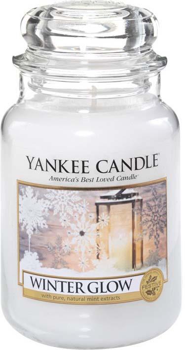 Свеча ароматизированная Yankee Candle Winter Glow Сияние зимы, большая, в стеклянной банке, белый, 1342537E, 623 г ароматическая свеча yankee candle summer peach jar candle объем 623 г 623 мл