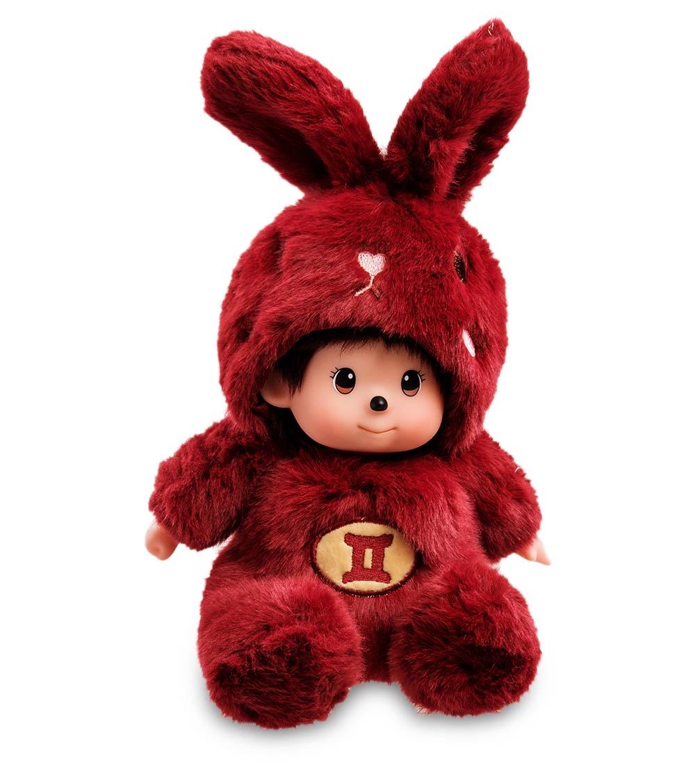 """Мягкая игрушка Lovely Joy """"Малыш в костюме Зайчика. Знак Зодиака - Близнецы'', 25444, темно-красный"""