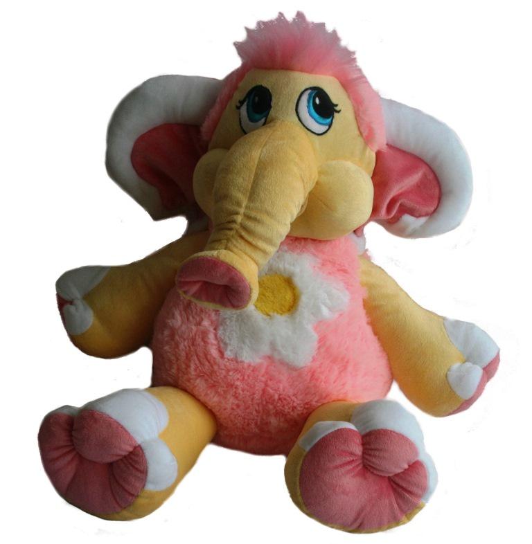 Мягкая игрушка СмолТойс Мамонтенок Солнышко В55см А1055/ЖЛ, желтый, розовый
