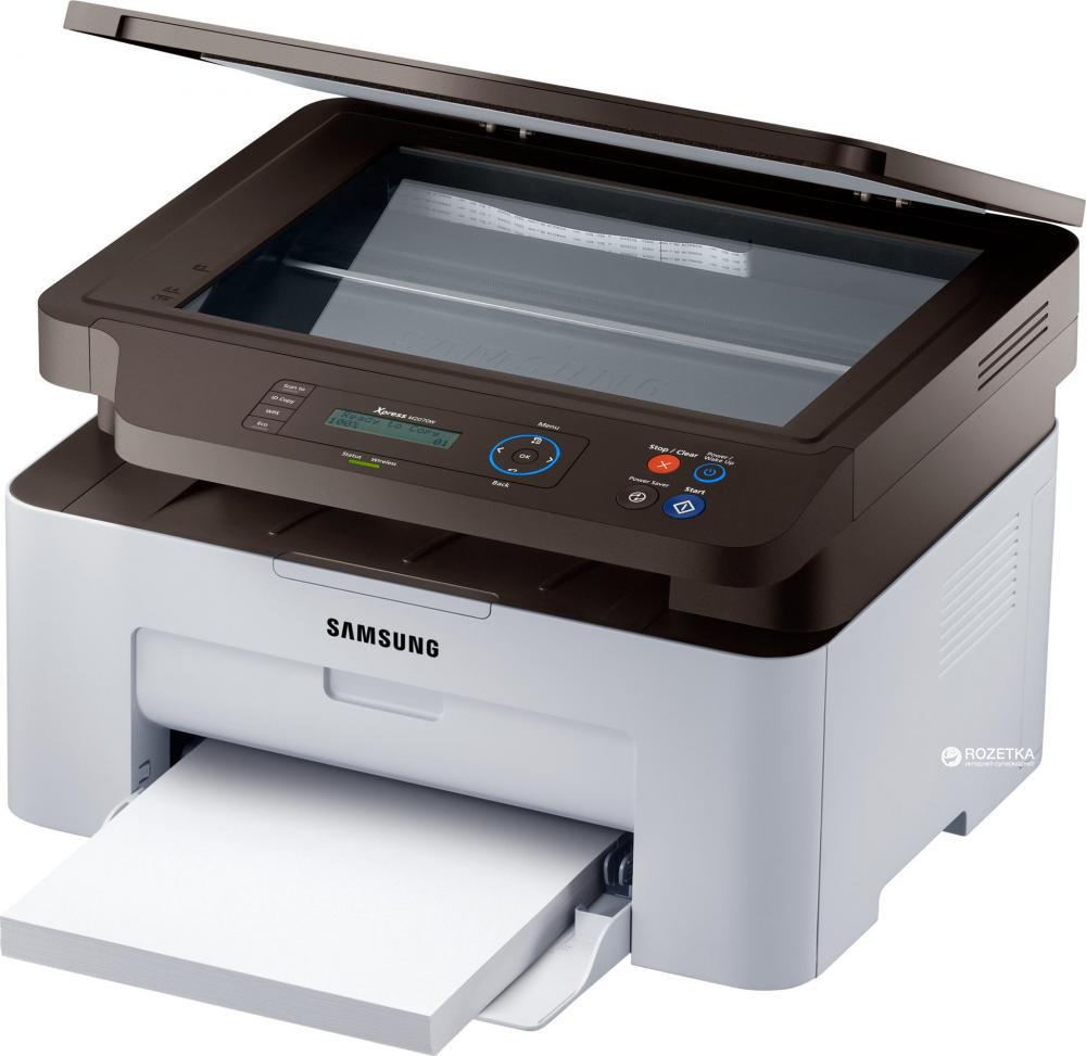 МФУ Samsung SL-M2070W, A4 WiFi, SS298B / 1021655, лазерный, белый, серый мфу samsung sl m2870fd