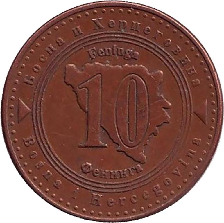 Монета номиналом 10 фенингов. Босния и Герцеговина, 2007ИН-7657Аверс: Флаг страны. Реверс: Очертание страны и надпись десять фенингов