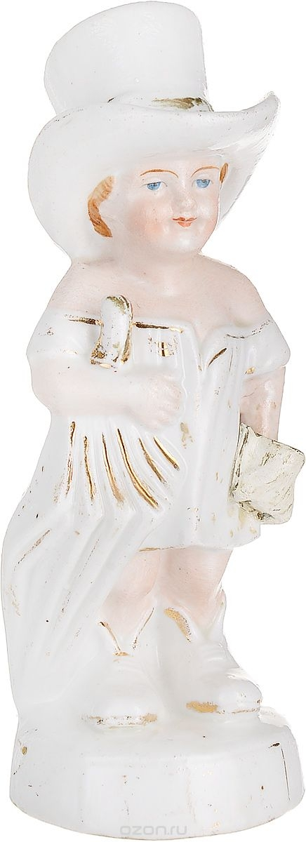 Статуэтка Мальчик в цилиндре. Фарфор, ручная роспись, золочение. Высота 15 см. Германия, первая половина ХХ века статуэтка мальчик на лыжах