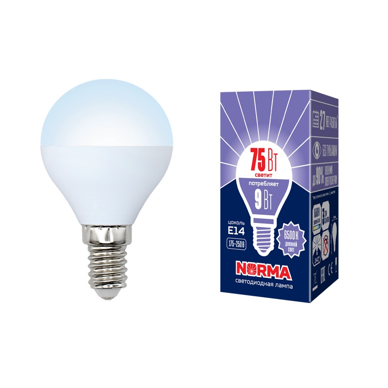 Лампочка светодиодная Volpe Norma, шар, UL-00003824, дневной белый свет, LED-G45-9W/DW/E14/FR/NR, 6500K