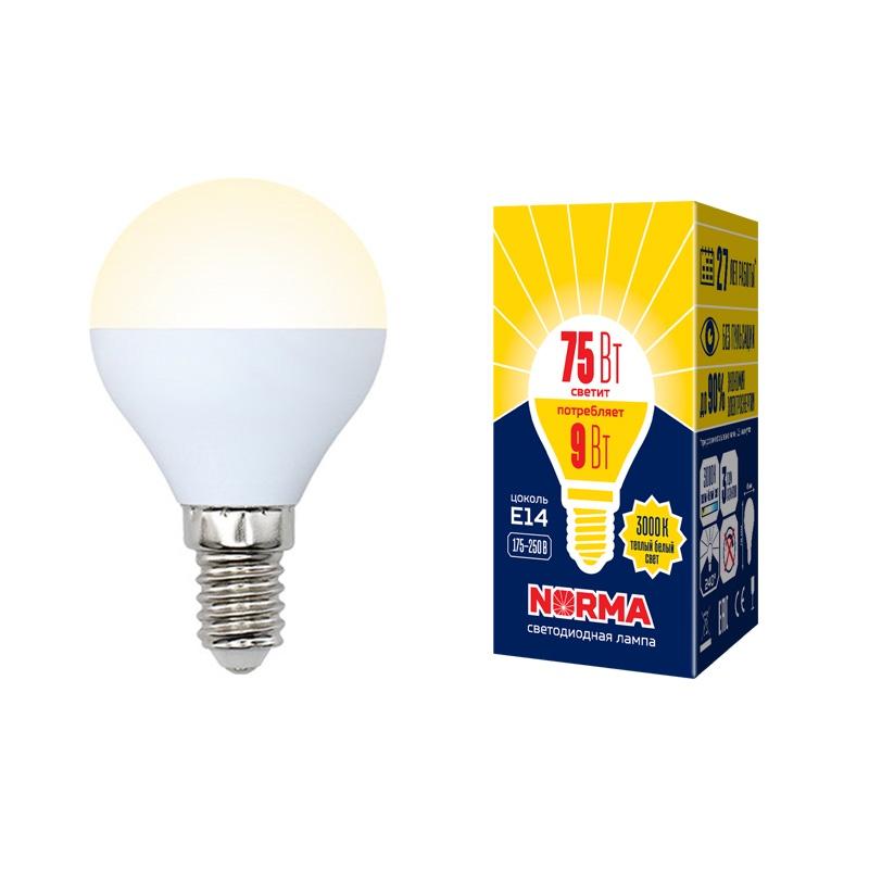 Лампочка светодиодная Volpe Norma, шар, UL-00003826, теплый белый свет, LED-G45-9W/WW/E14/FR/NR, 3000K
