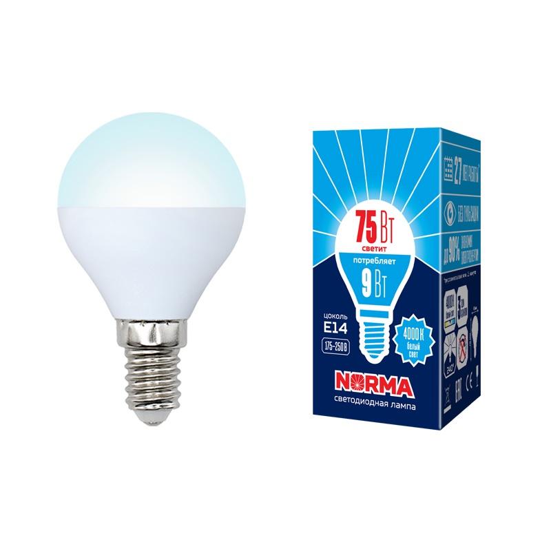 Лампочка светодиодная Volpe Norma, шар, UL-00003825, белый свет, LED-G45-9W/NW/E14/FR/NR, 4000K