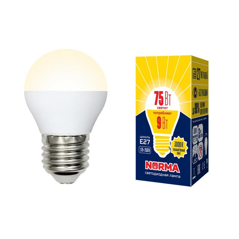 Лампочка светодиодная Volpe Norma, шар, UL-00003829, теплый белый свет, LED-G45-9W/WW/E27/FR/NR, 3000K