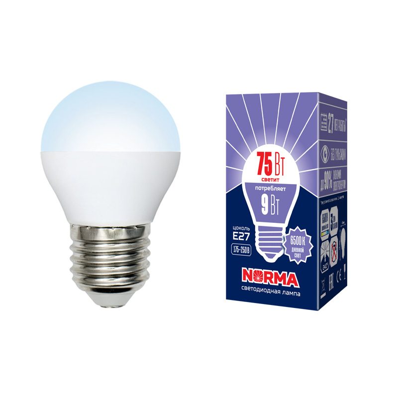Лампочка светодиодная Volpe Norma, шар, UL-00003827, дневной белый свет, LED-G45-9W/DW/E27/FR/NR, 6500K