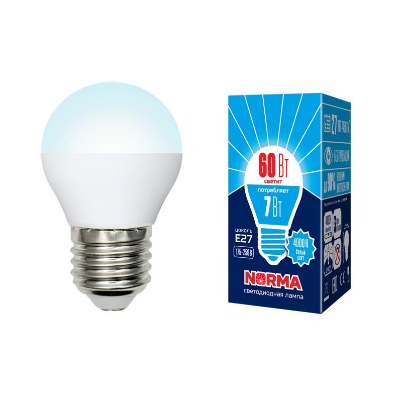 Лампочка светодиодная Volpe Norma, шар, UL-00003822, белый свет, LED-G45-7W/NW/E27/FR/NR, 4000K
