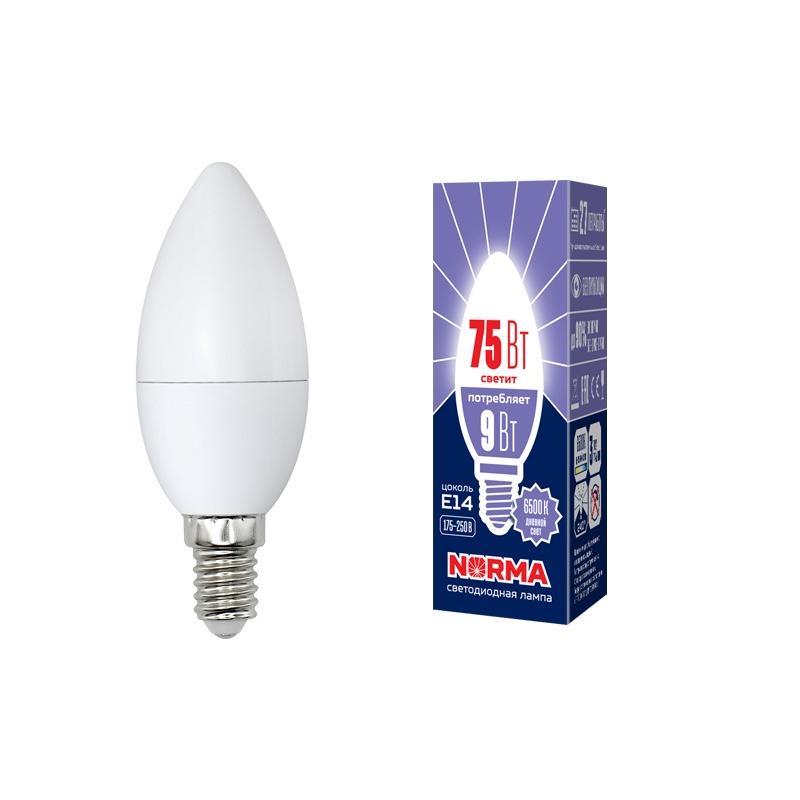Лампочка светодиодная Volpe Norma, свеча, UL-00003802, дневной белый свет, LED-C37-9W/DW/E14/FR/NR, 6500K
