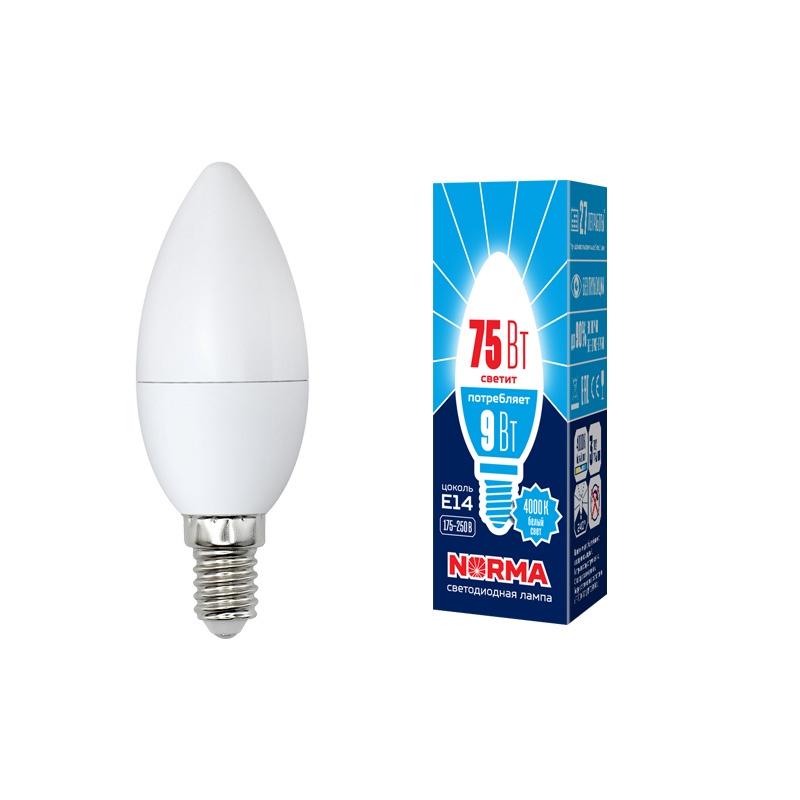 Лампочка светодиодная Volpe Norma, свеча, UL-00003803, белый свет, LED-C37-9W/NW/E14/FR/NR, 4000K