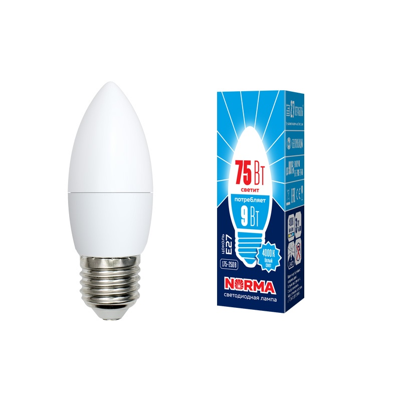 Лампочка светодиодная Volpe Norma, свеча, UL-00003806, белый свет, LED-C37-9W/NW/E27/FR/NR, 4000K