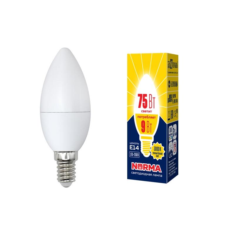 Лампочка светодиодная Volpe Norma, свеча, UL-00003804, теплый белый свет, LED-C37-9W/WW/E14/FR/NR, 3000K