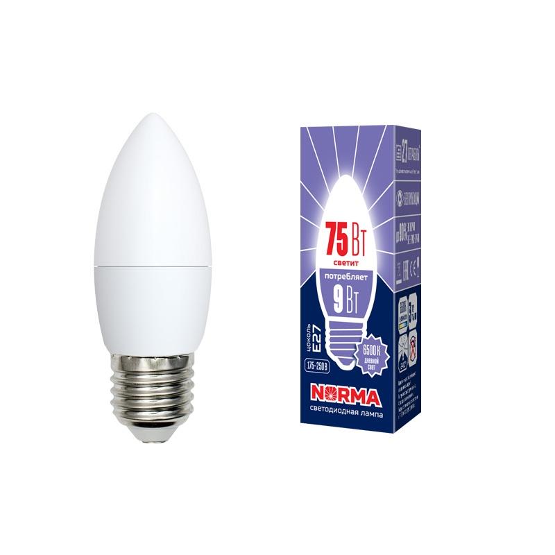 Лампочка светодиодная Volpe Norma, свеча, UL-00003805, дневной белый свет, LED-C37-9W/DW/E27/FR/NR, 6500K