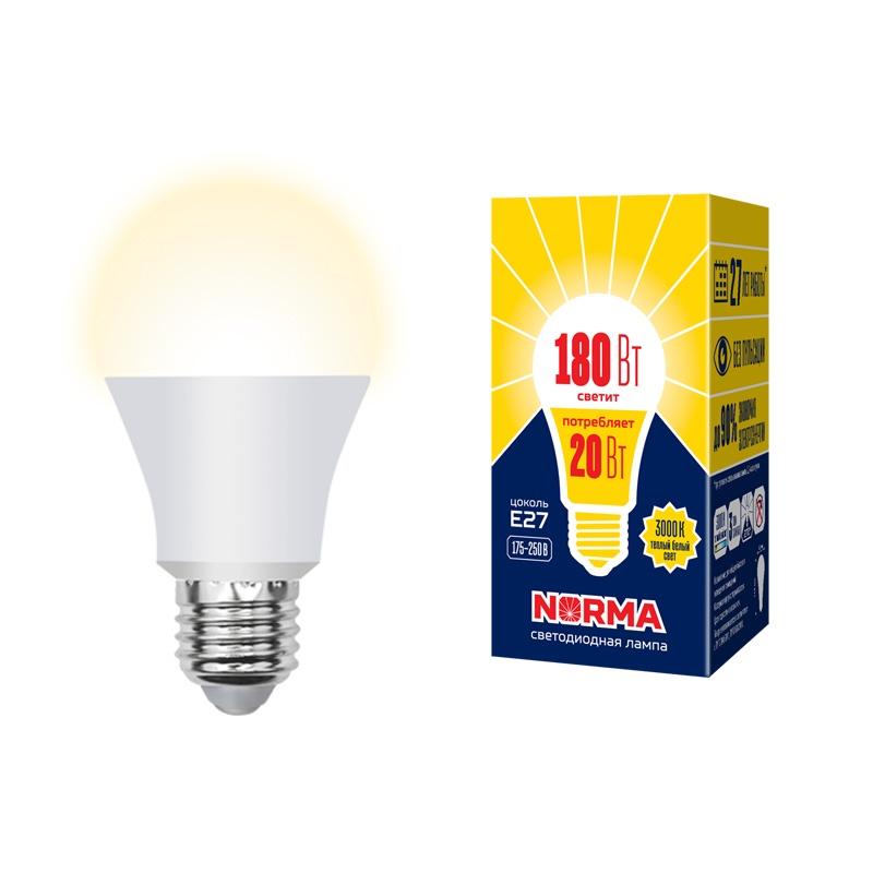 Лампочка светодиодная Volpe Norma, A, UL-00004030, теплый белый свет, LED-A65-20W/WW/E27/FR/NR, 3000KUL-00004030Торговая марка Volpe представляет новую серию светодиодных ламп NORMA - современных источников света с отличными светотехническими характеристиками. Понятие нормы — относительно. Однако есть ряд вещей, где соответствие нормам — залог качества и безопасности. Такой подход применим и в сфере освещения. Volpe задает новые стандарты качества света в серии современных светодиодных ламп NORMA. Материал корпуса - термопластик; Стекло - матовое; Индекс цветопередачи, Ra - 80; Класс энергопотребления - A+; Коэффициент мощности - ?0,7; Светоотдача, Лм/Вт - ?80; Угол светового потока, ° - 240; Срок гарантии - 36 месяцев; Срок службы, ч - 25000.