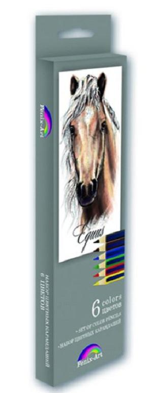 Набор цветных карандашей Феникс+ Лошадь, 32869, деревянные, 6 шт набор цветных карандашей феникс лошадь 32869 деревянные 6 шт
