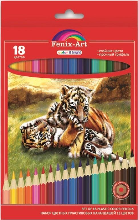 Набор цветных карандашей Феникс+ Тигрята, 40038, пластиковые, 18 шт