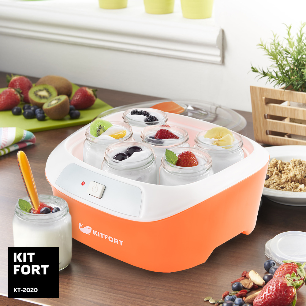 Йогуртница Kitfort КТ-2020, оранжевый, белый Kitfort