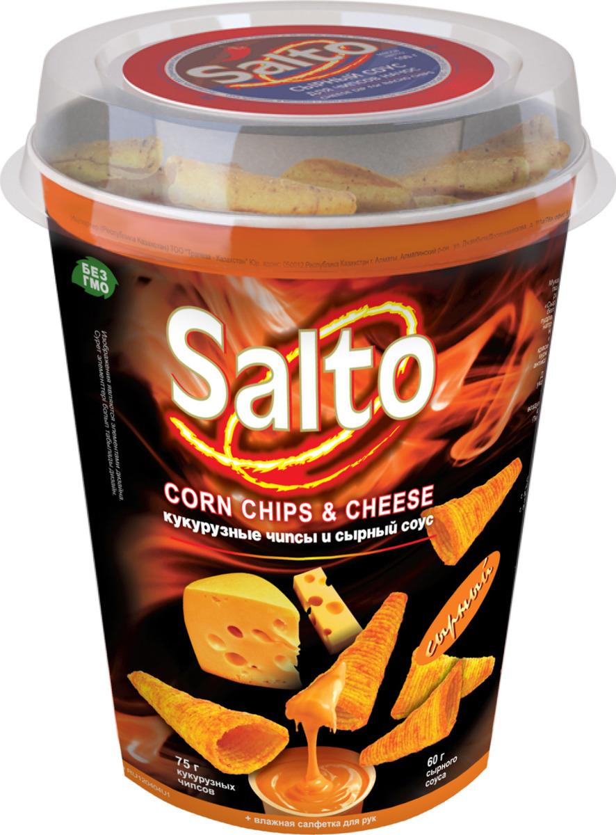 Чипсы Salto Сыр Начо кукурузные, 75 г + соус, 60 г чипсы salto томатный кукурузные 75 г соус 60 г