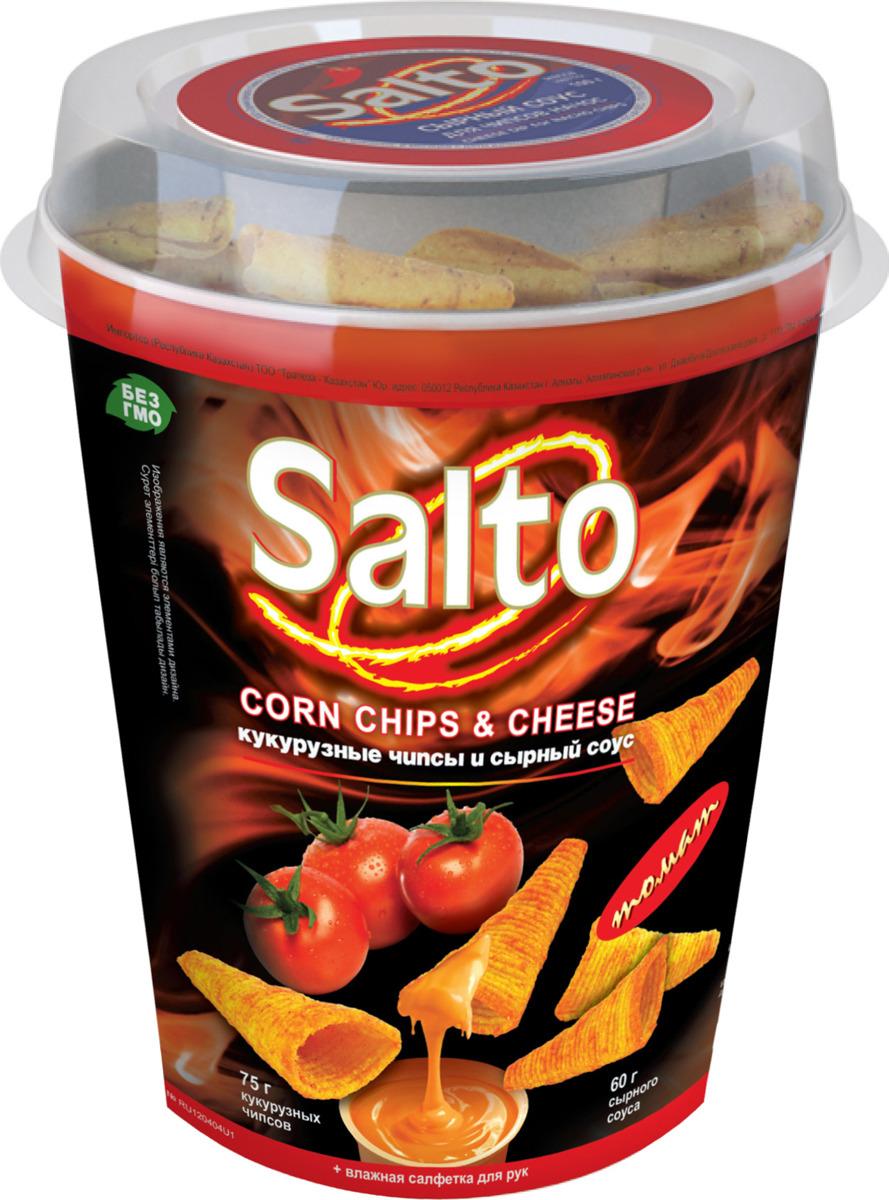 Чипсы Salto Томатный кукурузные, 75 г + соус, 60 г чипсы salto томатный кукурузные 75 г соус 60 г