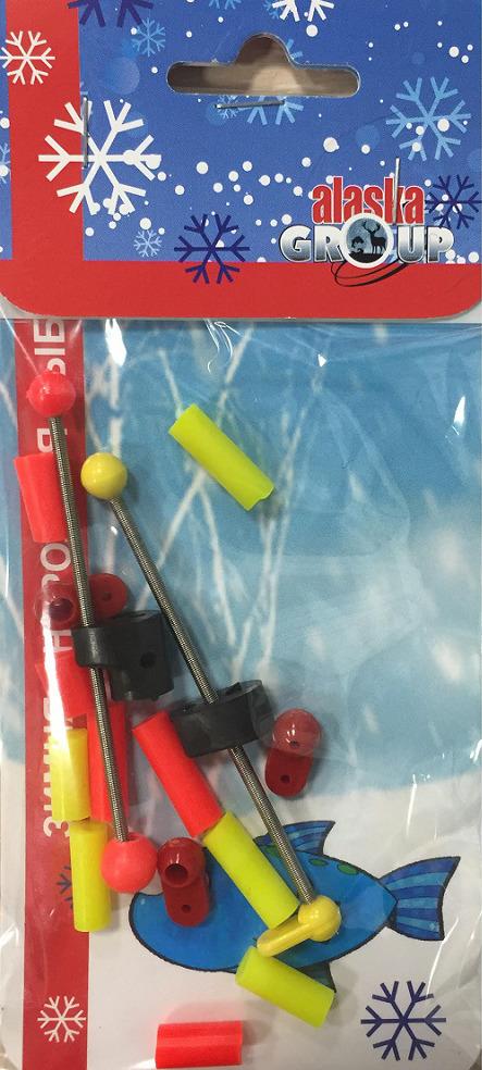 Набор рыболовных сторожков AGP Аляска №5, с монтажными элементами и кембриками, УТ000031720, голубой, красный, желтый, 15 шт