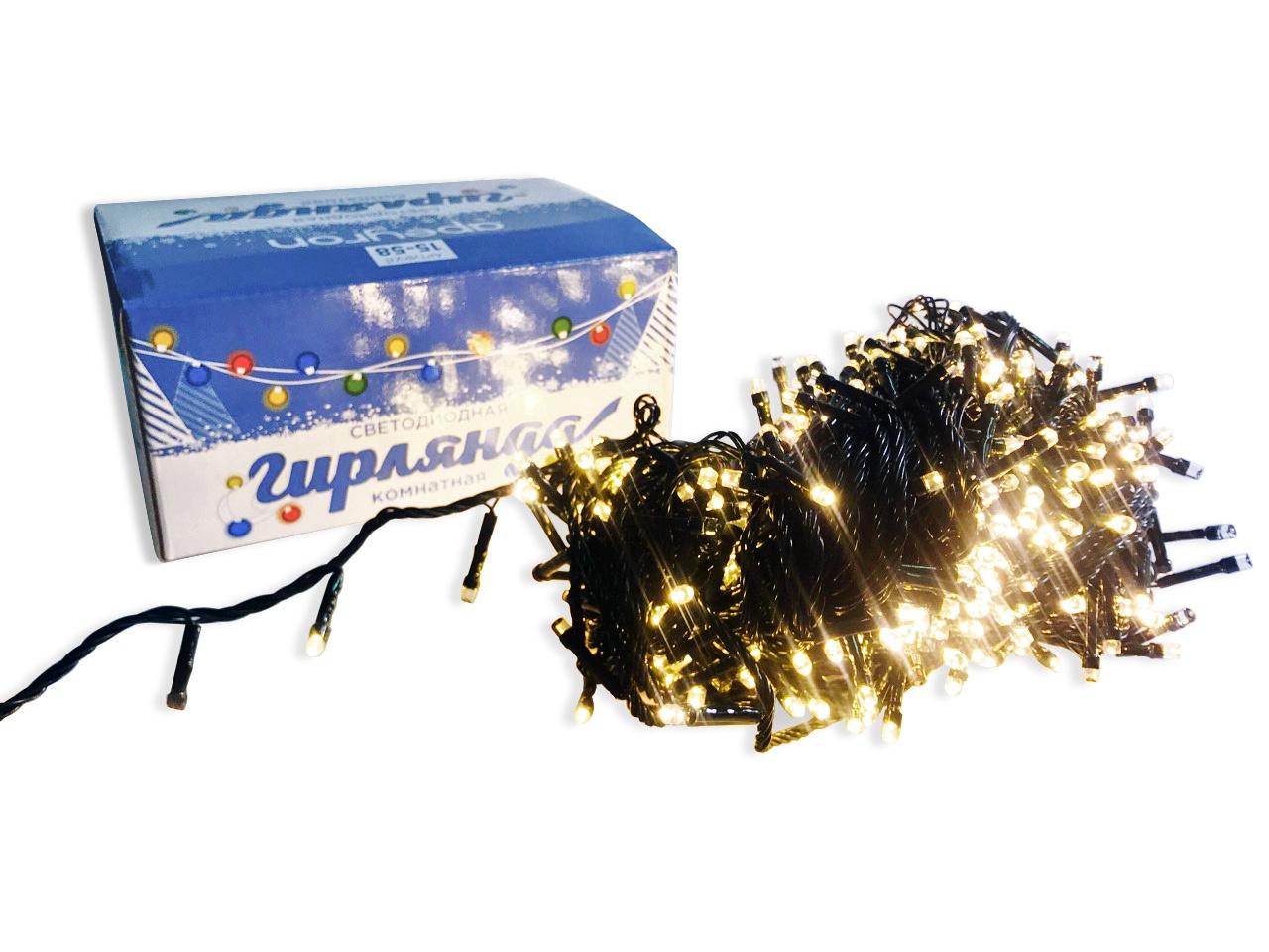 Гирлянда APEYRON electrics Теплый белый цвет, 15-58 электрическая гирлянда светодиодная apeyron бумажная 10ламп теплый белый 1 5м