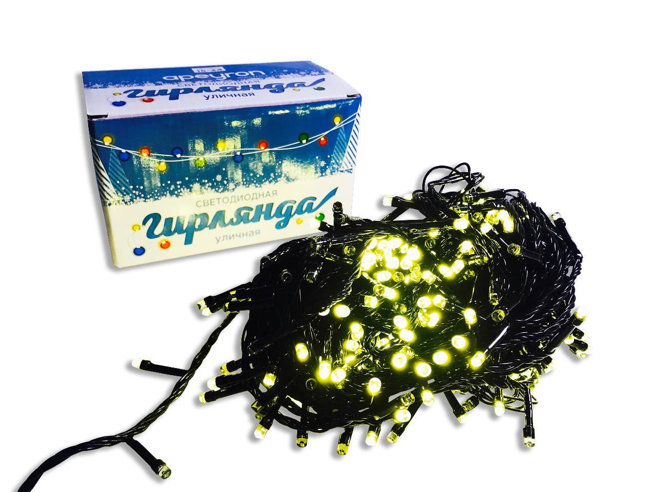 Подвесное украшение APEYRON electrics Уличная электрическая гирлянда светодиодная, 18м, 8 режимов, 360 диодов,черный шнур, теплый белый., 15-34 электрическая гирлянда светодиодная apeyron бумажная 10ламп теплый белый 1 5м
