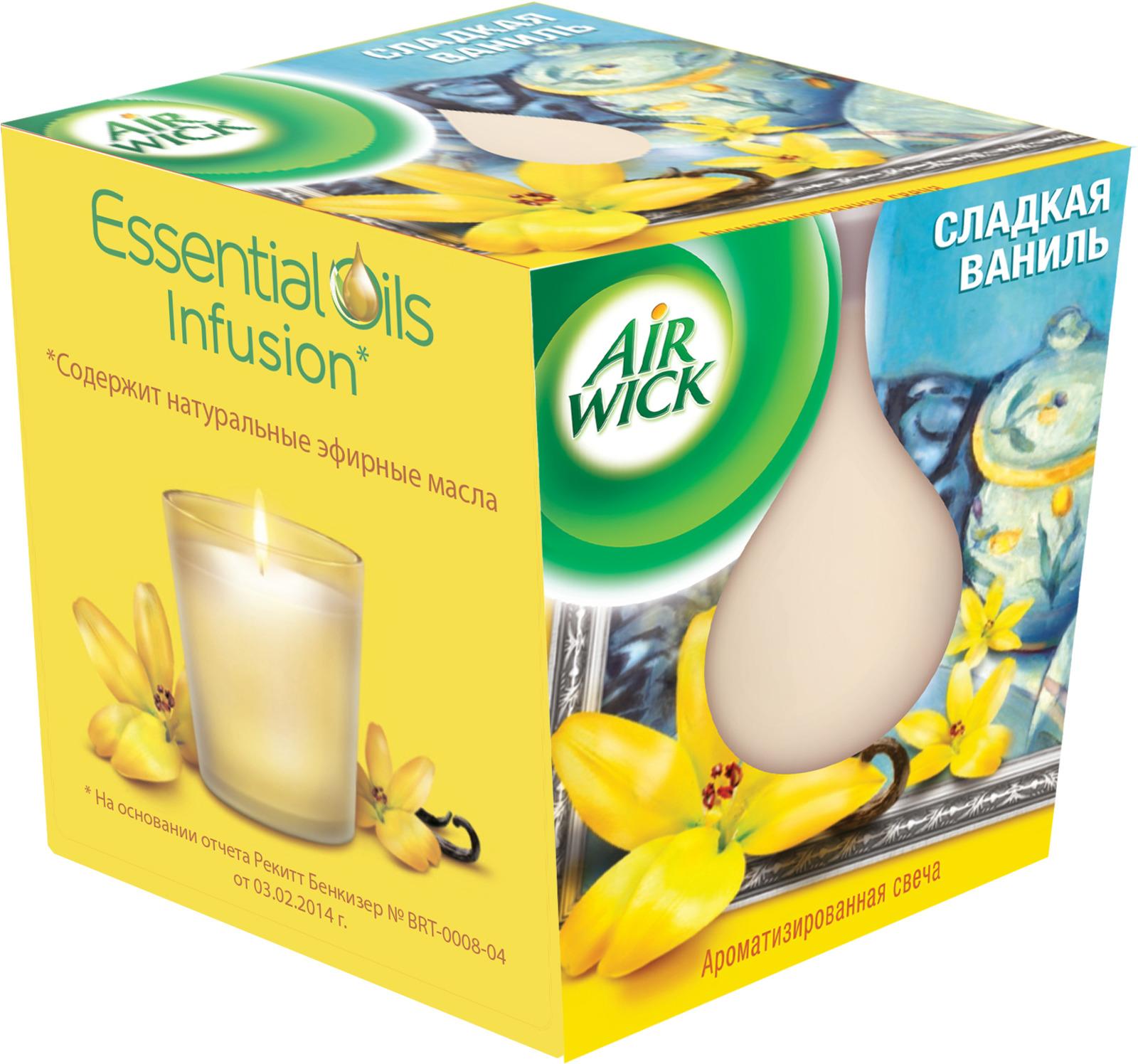 Свеча ароматизированная AirWick Сладкая ваниль, 105 г21839Ароматизированная свеча AirWick наполнит вашу комнату роскошным ароматом и создаст в ней уютную атмосферу. Вы сможете насладиться согревающим ароматом ванили в сочетании с древесными нотками. Свеча помещена в подсвечник, выполненный из прозрачного стекла в виде небольшого стакана. Серия AirWick содержит натуральные экстракты растений, цветов и фруктов, известные своим положительным воздействием на человека. Уникальные композиции ароматов AirWick помогают создать настроение в вашем доме. Состав: 30% и более парафины, воск, эфирное масло, ароматизатор, цитронеллол, бутилфенил метилпропиональ, линалоол. Материал подсвечника: стекло. Высота свечи (с учетом подсвечника): 7,5 см. Диаметр основания (с учетом подсвечника): 7 см. Уважаемые клиенты! Обращаем ваше внимание на возможные изменения в дизайне упаковки. Поставка осуществляется в зависимости от наличия на складе. Рекомендуем!