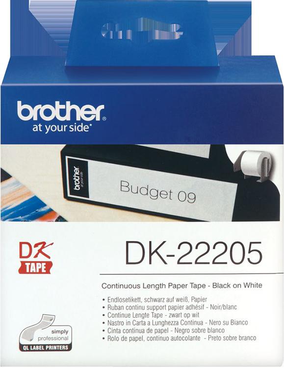 Лента Brother DK22205 бумажная клеящаяся белая 62мм*30.48м