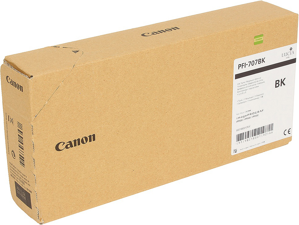 Картридж Canon PFI-707 BK для плоттера iPF830/840/850. Черный. 700 мл. цена
