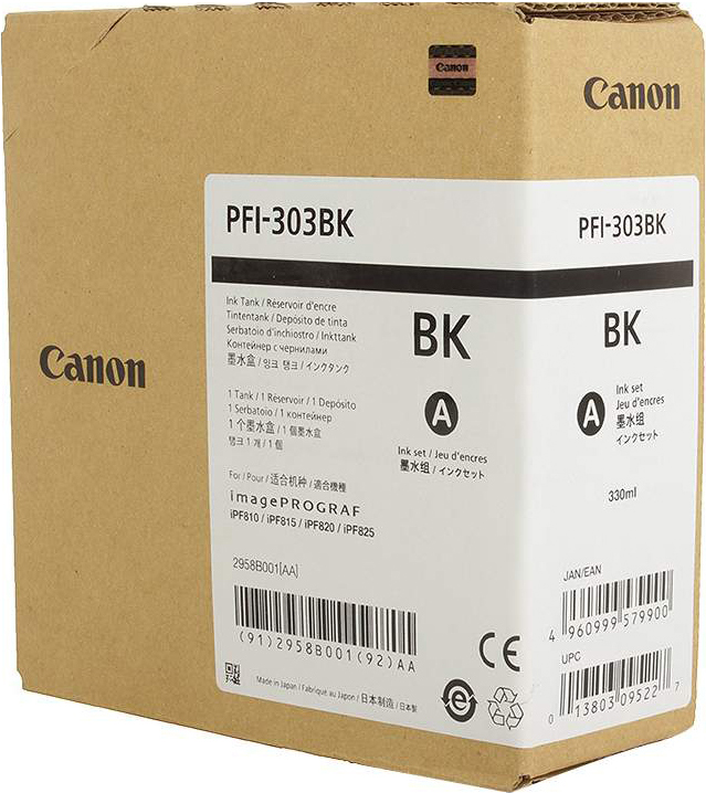 Картридж Canon PFI-303 BK для плоттера iPF815/825. Черный. 330 мл. картридж canon pfi 303 y для плоттера ipf815 825 жёлтый 330 мл