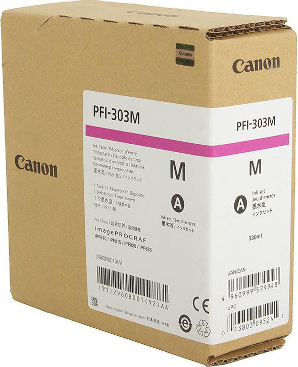 Картридж Canon PFI-303 M для плоттера iPF815/825. Пурпурный. 330 мл. картридж canon pfi 303 y для плоттера ipf815 825 жёлтый 330 мл