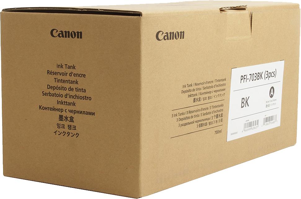 Картридж Canon PFI-703 BK, черный, для струйного принтера, оригинал цена в Москве и Питере
