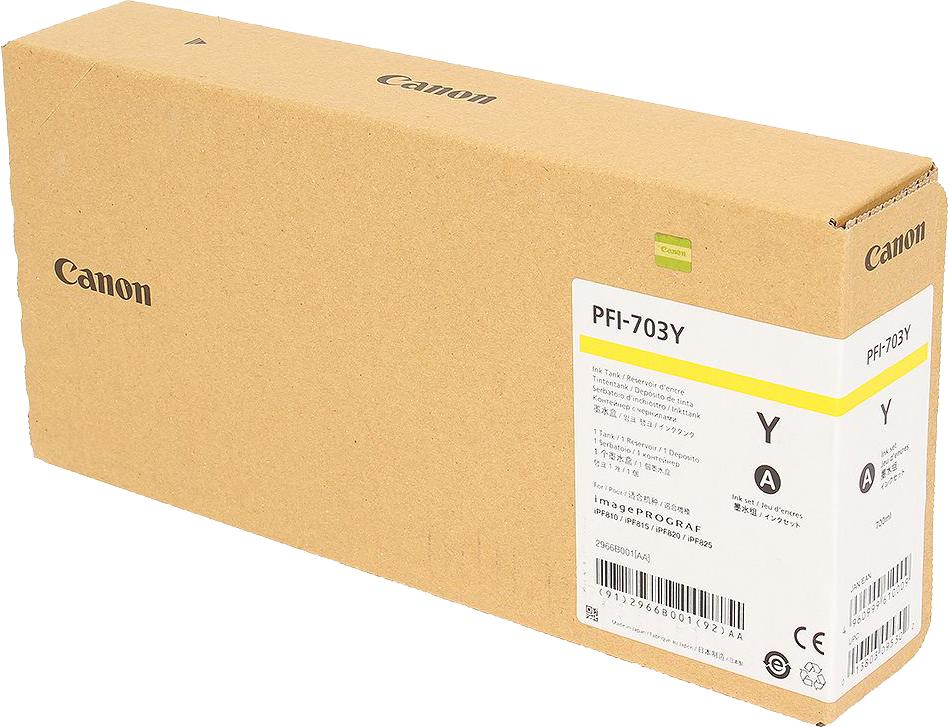 Картридж Canon PFI-703 Y, желтый, для струйного принтера, оригинал