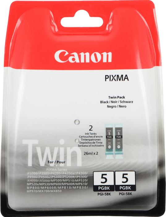 Картридж Canon PGI-5BK TWIN PACK для PIXMA MP800/MP500/iP5200/iP5200R/iP4200R/IX4000/IX5000. Двойная упаковка. Черный. 505 страниц/шт. картридж canon pgi 5bk twin pack black 0628b030
