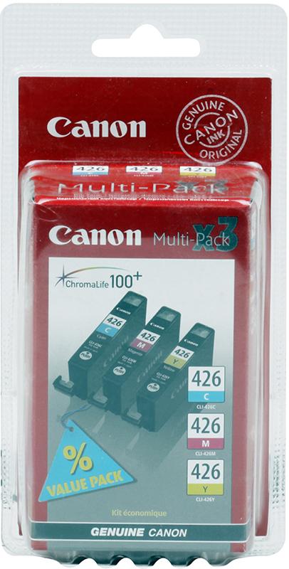 Картридж Canon CLI-426 C/M/Y для iP4840, MG5140, MG5240, MG6140, MG8140 .(3 картриджа в упаковке). Цветной. 446 страниц. картридж для принтера canon cli 426 серый
