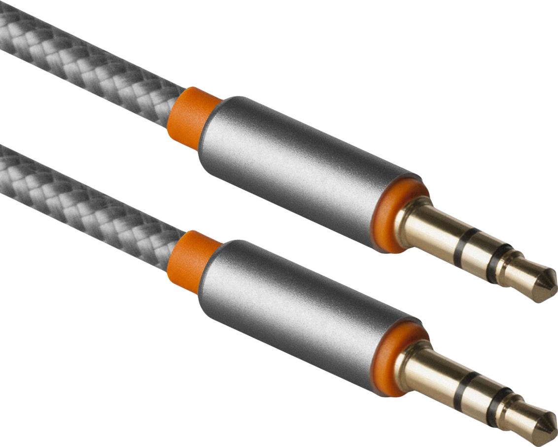 Аудио-кабель Defender JACK01-03 Серый JACK M- JACK M, 1,2м defender аудио кабель jack01 03 белый jack m jack m 1 2м 87513