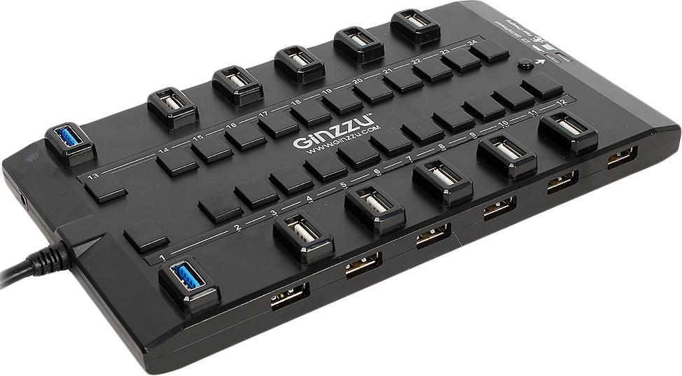Концентратор Ginzzu USB 3.0/2.0 GR-328UAB концентратор usb 2 0 ginzzu gr 424ub 4 порта