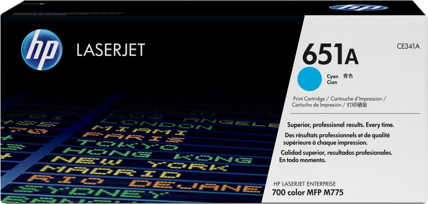 Картридж HP CE341A 651A, голубой, для лазерного принтера, оригинал цена 2017