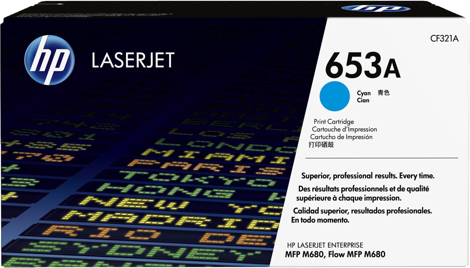 Картридж HP 653A, голубой, для лазерного принтера, оригинал
